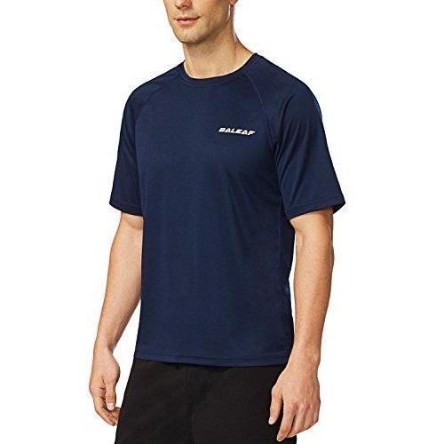 Baleaf Men's Short Sleeve Solid Sun Protection Quick-Dry Rashguard Swim Shirt UPF 50+ Navy Size XL