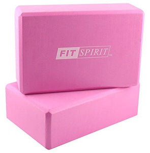 "Fit Spirit Set of 2 Pink Exercise Yoga Blocks - 9"" x 6"" x 3"""
