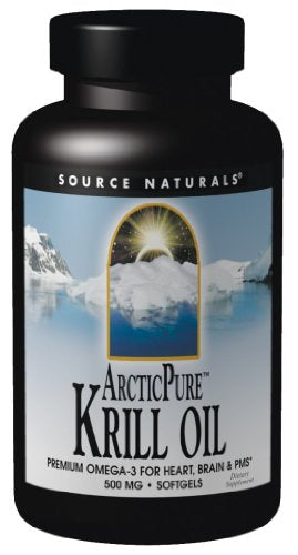 Source Naturals ArcticPure Krill Oil 500mg, Premium Omega-3 for Heart, Brain, and PMS, 120 Softgels