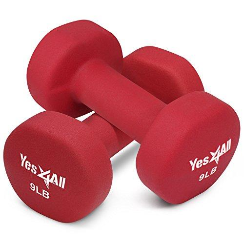 9 lbs Dumbbells Neoprene with Non Slip Grip – Great for Total Body Workout – Total Weight: 18 lbs (Set of 2) Sport & Recreation Yes4All