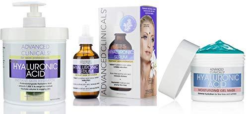 Advanced Clinicals Hyaluronic Acid Skin Care Set. 16oz Hyaluronic Acid Body Cream, Hydrating Hyaluronic Acid Serum, and Hyaluronic Acid Mask. Anti-aging skin care set for fine lines, dry skin.