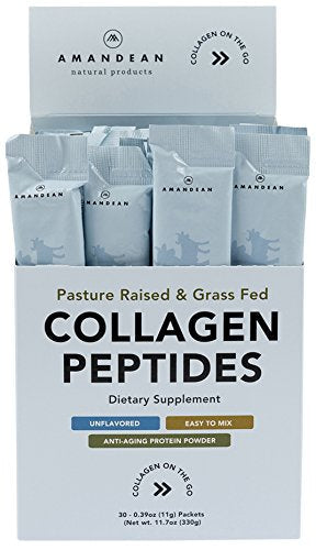 Collagen Peptides Packets | Box of 30 Individual Stick Packs | Grass Fed Hydrolyzed Collagen Protein Powder | Unflavored, Easy to Mix | Paleo & Keto Friendly | Promotes Healthy Joints, Gut, Skin, Hair