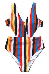 CUPSHE Women's Passing Fancy Stripe Print V Neck One-Piece Swimsuit Hollow Back Monokini Large