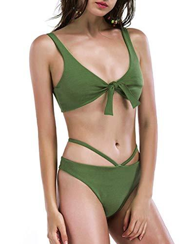 Holipick Women Two Piece Sexy V Neck Tie Knot Bikini Top with Cheeky Thong Bottoms Swimsuit Sets S