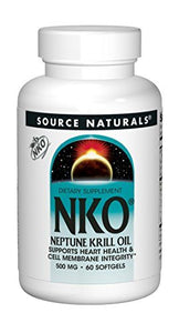 Source Naturals NKO Neptune Krill Oil 1000mg per Serving, Supports Heart Health and Cell Membrane Integrity, 60 500mg Softgels