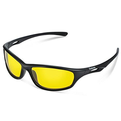 Duduma Yellow Night Vision Polarized Sunglasses Glasses for Driving Fishing Shooting Multicolor Frame Uv400(650 Black matte frame with yellow lens)