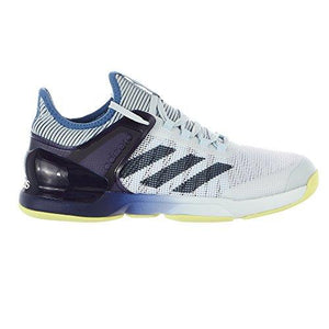 adidas Men's Adizero Ubersonic 2 Tennis Shoe, Blue Tint/Noble Ink/Semi Frozen Yellow, 9.5 M US