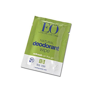 EO Organic Biodegradable Deodorant Wipes,Tea Tree, 24 Count