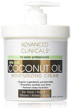 Advanced Clinicals Coconut Oil Cream. Spa size 16oz Moisturizing Cream. Coconut Oil for Face, Hands, Hair.
