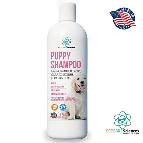 PET CARE Sciences Puppy Shampoo Gentle Sensitive Tearless - 96% Naturally Derived With Coconut Oil, Oatmeal, Aloe & Palm. Made in USA. Animal Wellness PET CARE Sciences