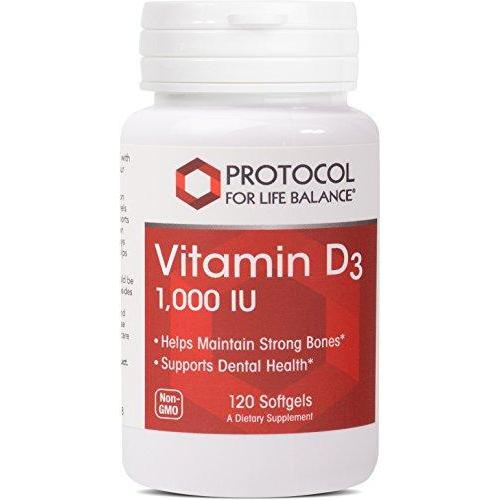 Protocol For Life Balance - Vitamin D3 1,000 IU - Supports Calcium Absorption, Bone and Dental Health, Immune System Function, Nervous System, & Cognitive Function - 120 Softgels Supplement Protocol For Life Balance