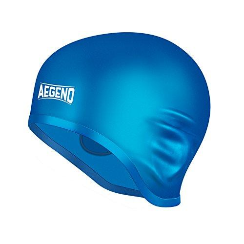 Aegend Solid Silicone Swim Cap, Comfortable Swim Caps Fit for Long Hair and Short Hair, Swimming Cap for Men Women Adult Youths, 3D Ergonomic Design Ear Pocket & Reversible & Multi Color, 11 Choices Swim Cap Aegend