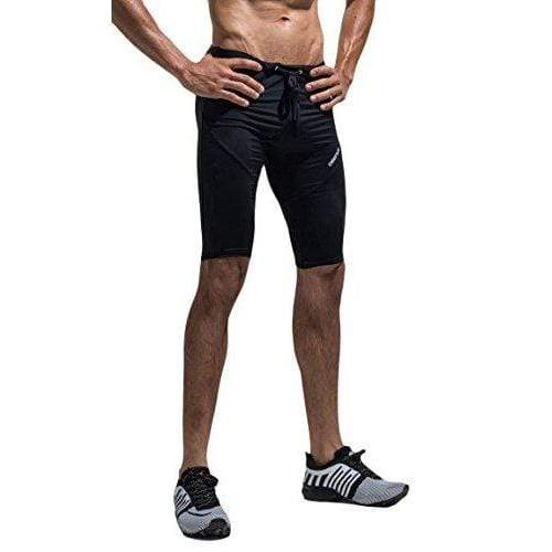 WUAMBO Men's Athletic Shorts Running Swimming Training Workout Shorts Black Large Waist 33