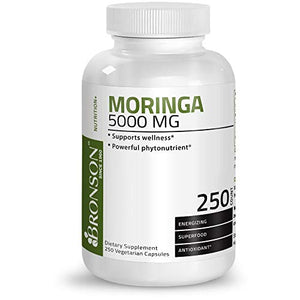 Bronson Moringa 5000 mg Extra High Potency Energizing Superfood Antioxidant, 250 Vegetarian Capsules