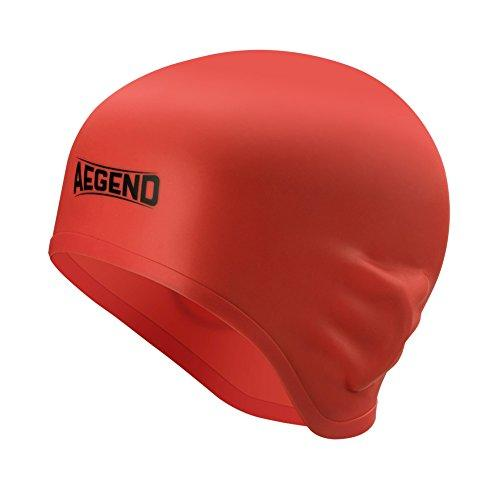 Aegend Adult Silicone Solid Swim Cap Blue Swimming Cap for Long Hair with 3D Ergonomic Design Ear Pockets Great Elasticity and No Deformation for Adult Woman Men, Keeps Hair Clean Ear Dry Swim Cap Aegend