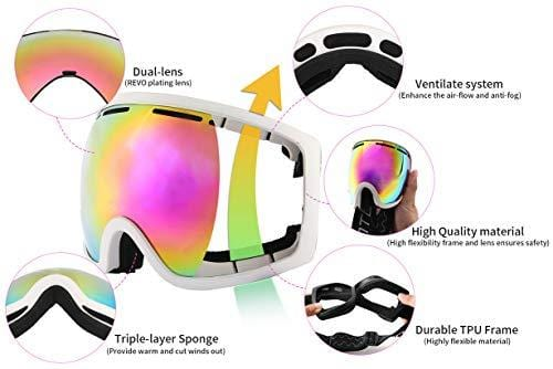 027a508dd04 ... Wantdo Adult Ski Goggle Snowboard Glasses Snowmobile Skate Motorcycle  Riding Dual Layers Lens Anti-Fog ...