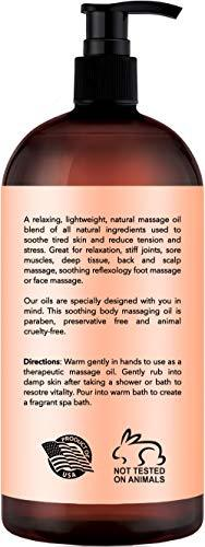 Clementine & Jasmine Massage Oil – 100% All Natural Ingredients – Clementine & Jasmine Sensual Body Oil Made with Essential Oils - Great For Muscle Relaxation, Stiff Joints & Deep Tissue