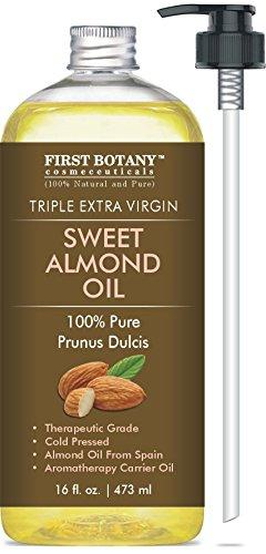 Cold Pressed Sweet Almond Oil - Triple AAA+ Grade Quality, For Hair, For Skin and For Face, 100% Pure and Natural from Spain, 16 fl oz