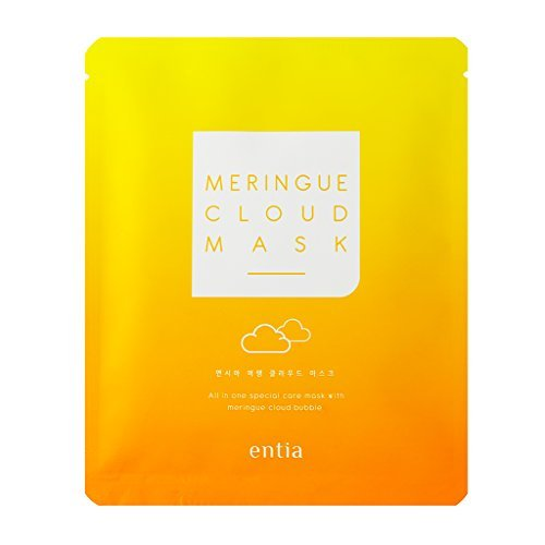 ENTIA Meringue Cloud Mask Pack of 5 / Egg White Bubble Cleansing Facial Mask for Radiant Skin