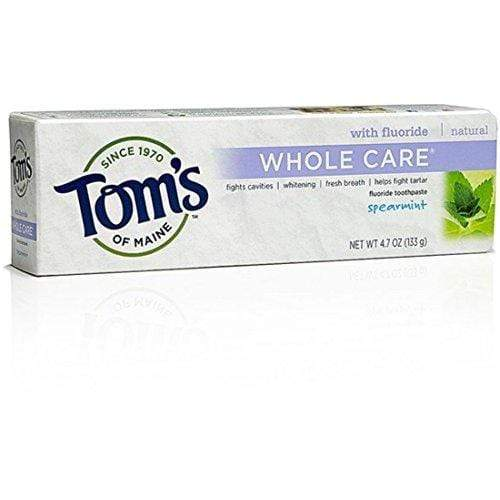 Tom's of Maine Whole Care Toothpaste with Fluoride, Spearmint 4.7 oz (Pack of 4)