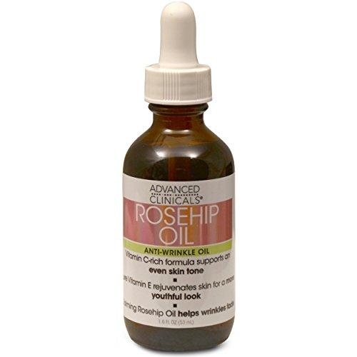 Advanced Clinicals Rosehip Oil Anti-wrinkle Face Oil with Vitamin C and Vitamin E for Sun Damage, Age Spots and Wrinkles (1.8oz)