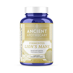 Ancient Apothecary Fermented Lion's Mane Mushroom Supplement, 90 Capsules — Infused with Organic Essential Oils, Ashwagandha Extract and Digestive Bitters
