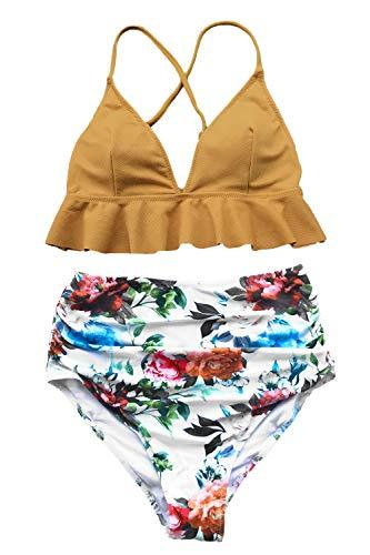 CUPSHE Women's Rambling Rose High-Waisted Push Up Bikini Set, Yellow, Large