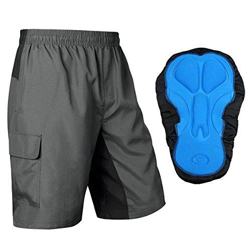 Baleaf Men's 3D Padded Mountain Bike MTB Baggy Cargo Cycling Shorts Grey Black Size XL