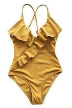 Cupshe Fashion Happy Ending Solid One-Piece Swimsuit Beach Swimwear Bathing Suit (M),Yellow