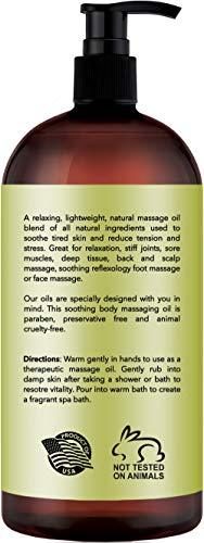 Lemongrass Massage Oil – 100% All Natural Ingredients – Lemongrass Sensual Body Oil Made with Essential Oils - Great For Muscle Relaxation, Stiff Joints & Deep Tissue – 9 FL Oz