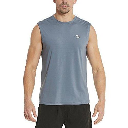 Baleaf Men's Performance Quick-Dry Muscle Sleeveless Shirt Tank Top Gray Size L Activewear Baleaf