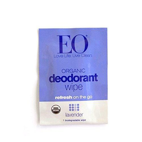 EO Organic Biodegradable Deodorant Wipes, Lavender, 6 Count (Pack of 12) Beauty & Health EO
