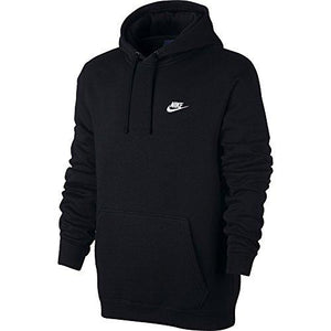 NIKE Sportswear Men's Pullover Club Hoodie, Black/Black/White, Medium