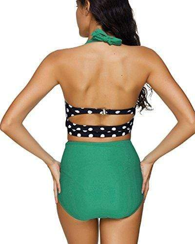 bb6671548bd ... Tempt Me Women Two Piece Vintage Polka Dot Support Halter Bikini Top  with Ruched Shirred High ...
