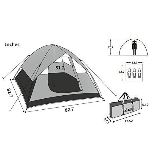 SEMOO Large Door, 3-Person, 3-Season Lightweight Water Resistant Family Camping Tent with Carry Bag