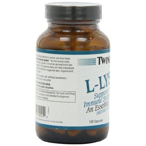 Twinlab L-Lysine 500mg, 100 Capsules (Pack of 4) Supplement Twinlab
