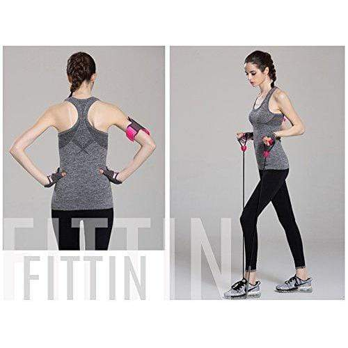 Women's Sports Yoga Fitness Racerback Sleeveless Tank Top Running Shirt Vest 2-Pack Black&Rose Medium Activewear FITTIN