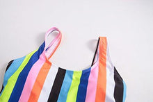Holipick Women One Piece Sexy Backless Rainbow Stripe Colorful Printed Padded High Leg Cut Monokini Swimwear Colorful S