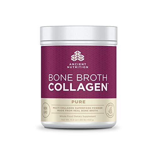 Ancient Nutrition Bone Broth Collagen Powder 30 Servings of All-Natural Protein Powder Loaded with Bone Broth Co-Factors (Pure, 30 Servings)