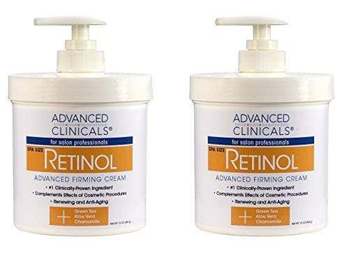 Advanced Clinicals Retinol Cream. Value Set- Two spa size 16oz bottles with pump. Best Anti-Wrinkle Cream with Retinol and Antioxidants. Ultimate firming cream for face, neck, hands, body.