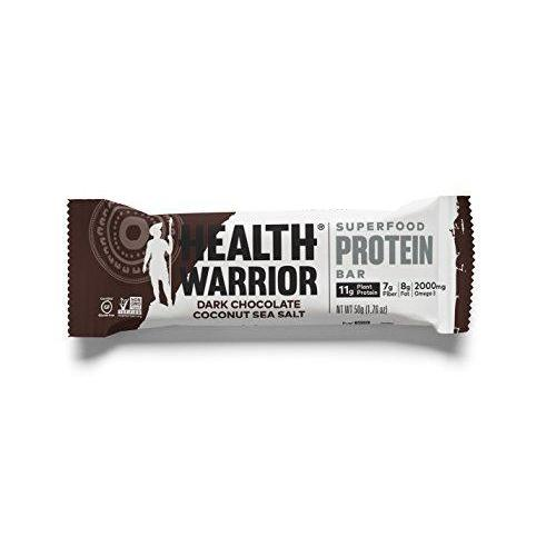Superfood Protein Bars, Dark Chocolate Coconut Sea Salt, Plant-Based Protein, 12 count Food & Drink Health Warrior