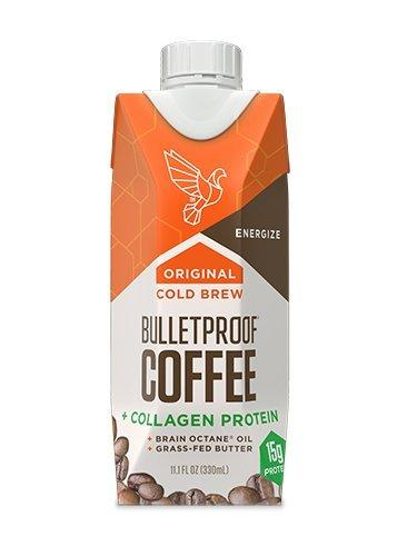 Bulletproof Coffee Cold Brew Ready To Drink- Ketogenic Diet, Sugar-Free, Includes Grass-Fed Butter and Brain Octane Oil, Original Plus Collagen (12 Pack)
