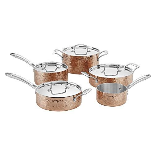 Cuisinart HCTP-9 Hammered Collection Cookware Set, Medium, Copper