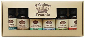 100% Pure Essential Oil First Aid Blend Set - Aches & Pains, Boo Boo, Cold & Flu, Protect (Thieves), Renew, Tension - Great for Aromatherapy