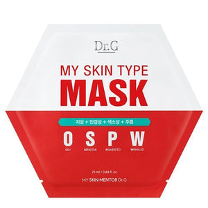 Dr.G My Skin Type Mask Sheet OSPW(Oily, Sensitive, Pigmented, Wrinkled) Type 25ml 10pcs Set