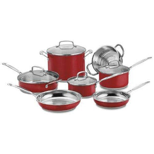 Cuisinart CSS-11MRA 11 Piece Chef's Classic Stainless Color Series Set, Red