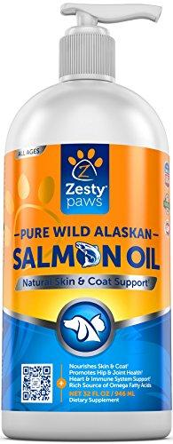 Pure Wild Alaskan Salmon Oil for Dogs & Cats - Supports Joint Function, Immune & Heart Health - Omega 3 Liquid Food Supplement for Pets - All Natural EPA + DHA Fatty Acids for Skin & Coat - 32 FL OZ Animal Wellness Zesty Paws