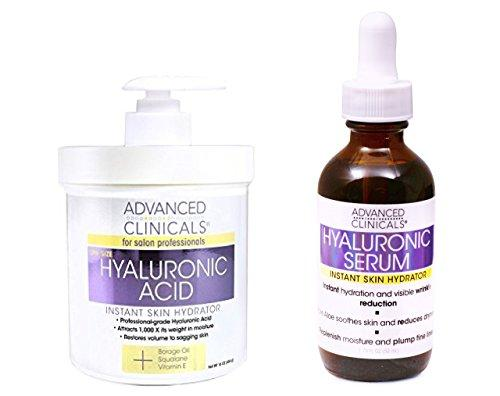 Advanced Clinicals Hyaluronic Acid Cream and Hyaluronic Acid Serum skin care set! Instant hydration for your face and body. Targets wrinkles and fine lines. Spa size 16oz cream and large 1.75oz serum.