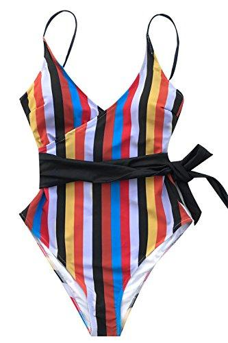 CUPSHE Women's Colorful Stripes High Waisted One-Piece Swimsuit Large