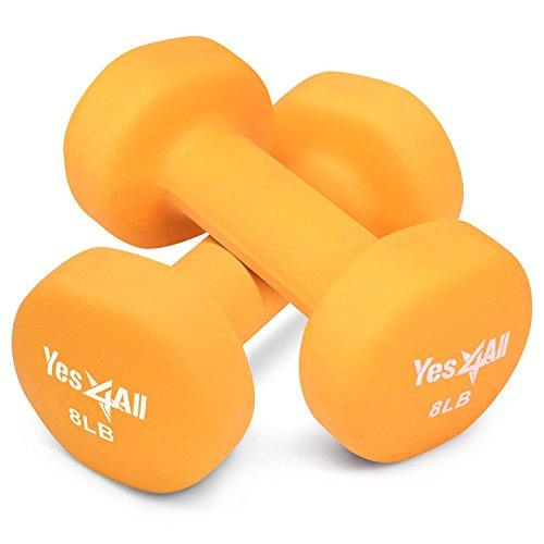 8 lbs Dumbbells Neoprene with Non Slip Grip – Great for Total Body Workout – Total Weight: 16 lbs (Set of 2) Sport & Recreation Yes4All